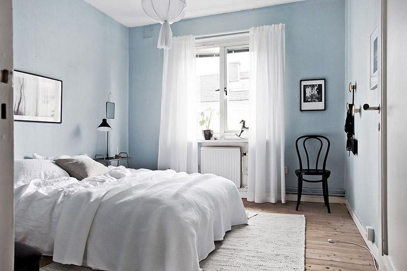 การตกแต่งห้องนอนโทนสีฟ้า